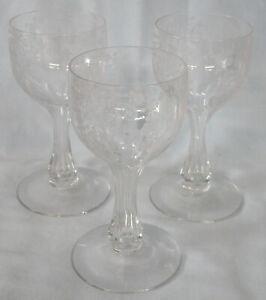 "Saint Louis Embossed Hollow Wine Goblet 5 1/2"" Set of 3 Pair, Unknown Pattern"