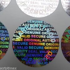 1000 Round 25 MM 1 INCH Security Hologram Tamper Evident Warranty Silver Labels