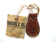 New Ralph Lauren Polo RRL Made in the USA Vintage Logo Brown Leather Key Chain