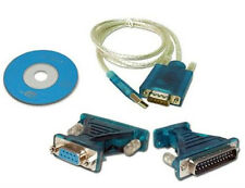 3Ft USB 2.0 to Serial DB 9 Pin RS232 Cable+ 25 Parallel Adapter Win7/8/10 & Mac
