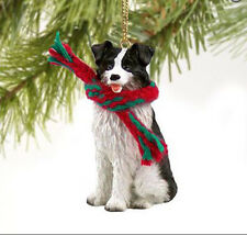 BORDER COLLIE DOG CHRISTMAS ORNAMENT HOLIDAY XMAS Figurine Scarf