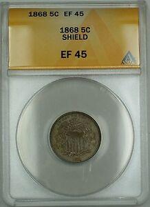 1868 Shield Nickel 5c Coin ANACS EF-45