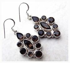 925 Sterlng Silver Faceted SMOKEY TOPAZ Semi Precious Gemstone EARRINGS