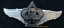 BIKER WINGS CARD SPADE DEATH SKULL PEWTER PILOT FLYING WING PIN BAD TO THE BONE