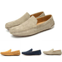 Mens Slip On Loafers Solid Leather Breathable Driving Outdoor Flat Gommino Shoes