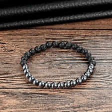 Natural Lava Rock Stone Hematite Beaded Bracelet Cuff Black Silver 6mm Stone
