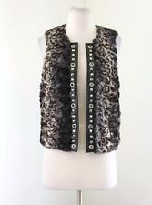 Cache Chic Faux Fur Faux Leather Open Vest Size M Studded Rhinestone Black Gray