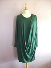 Made in Italy 22 - 24 - 26 Forest Green Stretch Cotton Jersey Knee Length Dress