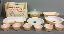Vintage New/Old Stock FIRE KING Copper Tint 12 pc Overware Anchor Hocking Glass