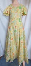 Vtg 70's Handmade Floral Chiffon lined Yellow Empire Waist Maxi dress Sz S