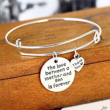 Womens Men Bangle Jewelry Family Love Silver Plated Pendant Heart Charm Bracelet
