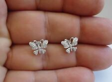 925 STERLING SILVER BUTTERFLY STUD EARRING W/ .25 CT ACCENTS/ SIZE 10MM BY 9MM