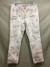 Tommy Hilfiger BEIGE SKINNY ANKLE CROPPED FLORAL PANT Washed Jeans Women sz 10