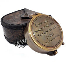 Vintage Style Brass Antique Leather With Case Quote Compass Valentine Gifting