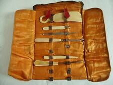 Antique Manicure Pedicure Set Celluloid Art Deco Vanity Leather Case