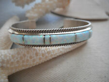 Sterling Silver Southwest Inlaid Lab Opal Cuff  Bracelet    494722
