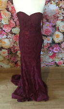 Gino Cerruti Long Burgundy Lace Strapless Prom Evening Gown Dress Size 10