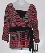 Briggs New York Plus Size Slimming Solution Semi Wrap Top Black & Red 3X NWT