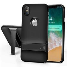 Black Hard Pc Soft TPU w/Kickstand Protective Bumper Case Cover for Iphone Xs