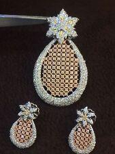 Pave 3.90 Cts Round Brilliant Cut Diamonds Pendant Set In Fine Hallmark 14K Gold