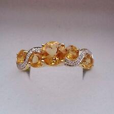 9ct Yellow Gold Citrine & Diamond Four Stone Wrap Beautiful Dress Ring - Size U