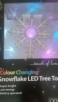 Silver Christmas Colour Changing Bright Snowflake LED Christmas Tree Topper