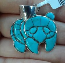 Santa Fe Kingman Turquoise Bear Pendant