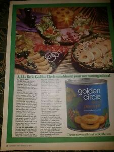 VINTAGE GOLDEN CIRCLE PINEAPPLES SINGLE PAGE ADVERT 1977 WOMANS DAY MAGAZINE