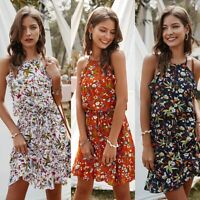 Sexy Women Slim Ruffles Casual Loose Mini Tank Dress Lady Ins Beach Dresses
