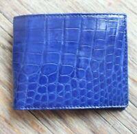 Crocodile Leather Skin Men's bifold wallet DOUBLE SIDE Cobalt Genuine Alligator