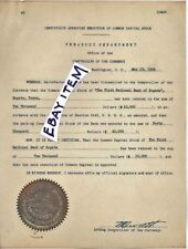 1934 Washington DC TREASURY DEPARTMENT COMPTROLLER CURRENCY National Bank TEXAS