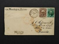Transatlantic: Portsmouth, NH 1866 5c & 10c Stamps to Prussia via New York