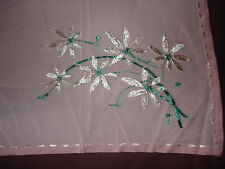 #089  Beautiful Hand-Embroidered Tablecloth 29''/27''(74cm/70cm)