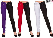 Women's Banned Night After Night Half Black Emo Punk Skinny Split Pants Trousers