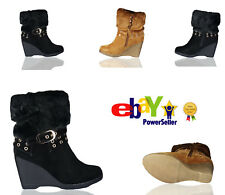 Ladies Womens Autumn Winter Fur Buckle Wedge Sneakers Boots Shoes High Top Size