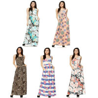 Womens Floral Pattern Print Sleeveless Maxi Dress with Pockets