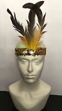 Gold Sequin Feather Headband 1920s Fancy Dress Charleston Flapper Band-SHIP 3PM