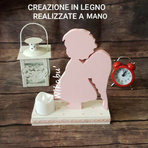 PINK ANGEL handmade LED CANDLE HOLDER hand painted HOME DECOR baby memorial