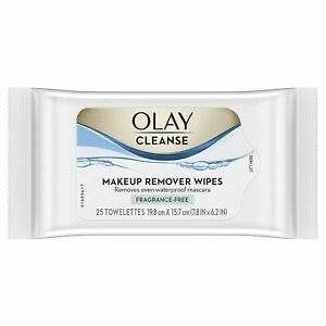 Olay Makeup Remover Wipes Wet Cloths Fragrance-Free 25 Wipes Olay Cleanse