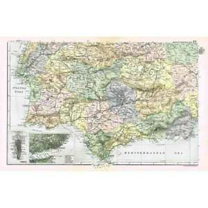 SPAIN (SW) and Portugal; inset of Lisbon, Gibraltar - Antique Map 1894 by Bacon