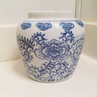 Oriental Ceramic Blue White Vase - Stamped - Floral Motif with Vines