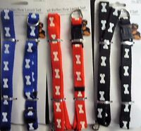 Bone Print Dog Lead and Adjustable Collar Set (for Small Dogs)Red, Blue or Black