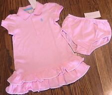POLO RALPH LAUREN BABY GIRLS 2Pc AUTHENTIC BRAND NEW PINK DRESS SET Sz 18M, NWT