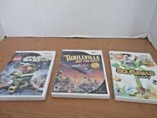 NINTENDO WII~Lot of 3 Video Games~LEGO STAR WARS III~THRILLVILLE~SQUEEBALLS