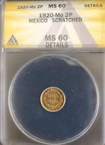 1920 Mo 2 Peso Gold Coin Mexico Rare 1920-MS60
