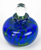 Vintage Art Glass Empty Perfume Bottle with Stopper Cobalt Blue Hand Blown Glass