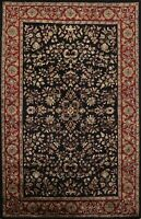 Traditional Floral BLACK/BURGUNDY 5x8 Agra Oriental Hand-Tufted Area Rug Wool