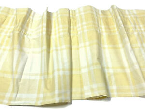 By Design Set 2 Pair Yellow White Plaid Valances Curtains Percale Window Drapes