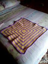 Hand Made  Crochet Baby Blanket  30x30 inches Pram Cot LAVENDER/YELLOW  FREEPOST