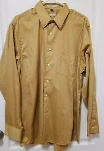 Geoffrey Beene Gold Sateen Dress Shirt, XLarge (17,  34/35). Long Sleeves.